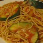 Zucchini Summer Pasta - Angel hair pasta, yellow squash and zucchini in a tomato sauce - a great way to use your surplus of summer squash.