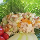 Gingery-Apricot Turkey Salad - Diced turkey, tart green apples, crunchy celery, sweet apricot bits, and chopped  cashews blend beautifully in this tasty turkey salad.