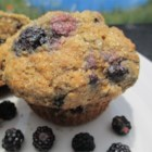Blackberry Muffins - A hint of pumpkin pie spice make these muffins extra special and comforting, and with just a teensy bit of butter, you can feel good about this breakfast treat.