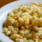 Macaroni and Cheese V - Macaroni and cheese made from scratch with onion, cheddar cheese and dry mustard.