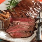 Marinated Flank Steak - Flank steak is marinated in a flavorful blend of soy sauce, red wine vinegar, and Worcestershire sauce in this tasty grilled dish.