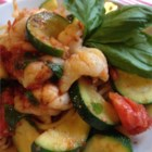 Bucatini Pasta with Shrimp and Anchovies - This pasta dish is both fresh and hearty! The fresh taste of summer from the zucchini and tomatoes contrasts nicely with the earthy saltiness of the anchovies.