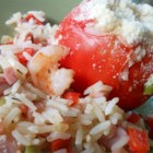Jambalaya-Stuffed Tomatoes - Use leftover shrimp, ham, and rice to make jambalaya-stuffed tomatoes. Top with Parmesan cheese for a tasty appetizer.