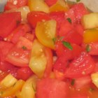 Spicy Watermelon Tomato Salad - This is a salad of watermelon and tomato in a dressing given a little heat from chile-garlic sauce.