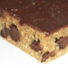 Peanut Butter Bars IV - This recipe forms a rather stiff dough, you might have to press it in the pan.  One time I put raisins in the batter by mistake, and my husband loved them that  way. You can also omit the chocolate chips and have them plain if you wish.