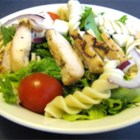 Grilled Chicken and Pasta Salad - Seasoned chicken strips highlight this pasta salad tossed with tomatoes, chopped lettuce, mozzarella, and onion. Feel free to add your favorite garnishes.