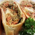 Sausage Bread - This is the full meal deal.  Prepare packaged bread mix and jelly-roll it around a hearty filling of pork sausage, pepperoni, mozzarella, Parmesan, Cheddar and herbs.  This makes a great lunch all by itself or with a salad.