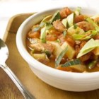 Irish Bacon And Cabbage Soup - This is a wonderfully simple chunky soup. I use good quality Irish back bacon but if you can't get this, it tastes equally good made with pancetta. The dark green colour of the cabbage alongside the tomatoes gives the soup a beautiful colour.