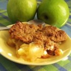 Apple Crisp III - No oats in this simple apple crisp -- just cinnamon spiced apples covered in a lightly sweet, buttery crust.