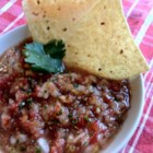 Simple Salsa - This low-cal salsa packs a punch with roasted habanero, jalapeno, and red chile peppers. Consider wearing latex gloves when handling the peppers during preparation!