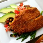 Baked Parmesan Tilapia - Ranch dressing adds a zippy flavor to this crispy baked fish dinner.