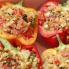 Vegetarian Stuffed Red Bell Peppers - These quinoa and apple stuffed peppers are fresh tasting and healthy. They make a great side dish or a meal on their own.