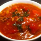 Lamb Barley Soup - This is a hearty soup that is good for cold winter days. Ground lamb and vegetables are cooked in a beefy broth with chewy barley. You can add more vegetables if you like; this is very flexible.