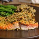 Baked Dijon Salmon - Salmon fillets brushed with honey and Dijon mustard, coated with bread crumbs and baked.