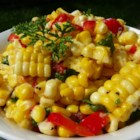 Corn Off the Cob Salad - This summer salad of grilled corn, red pepper, and sun-dried tomatoes is great served warm or at room temperature. It has lots of flavor!