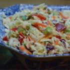 California Cole Slaw - A sweet summer slaw filled with fresh vegetables. It tastes better the second day after the vegetables have soaked in the marinade.