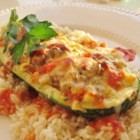 Stuffed Zucchini - This delicious stuffed zucchini recipe can be served as either a sidedish or a maindish.