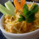 Healthier Buffalo Chicken Dip - Tangy, creamy, and spicy, this buffalo chicken dip is made healthier by using reduced-fat dairy ingredients.  Try serving with celery sticks and multi-grain crackers, for an even tastier treat.