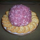 Dried Beef Ball - This is a favorite cocktail-party item, using cream cheese and dried beef, seasoned with Worcestershire sauce and green onions. Recipe can be multiplied.