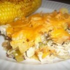 Hot Chicken Salad Casserole - This version features water chestnuts, mushrooms and Cheddar along with the celery and almonds, and is garnished with crushed potato chips.