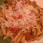 Souper Skillet Pasta - Souper simple!  Macaroni with beef and tomatoes in an onion soup sauce topped with melted Mozzarella.