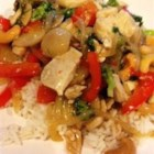 Garlic Chicken Stir Fry - Crunchy vegetables and chicken are treated to a quick garlic-ginger saute, then tossed with a lightly sweetened soy sauce.