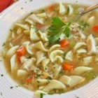 Grandma's Chicken Noodle Soup - This savory, homemade chicken noodle soup made with chicken broth, egg noodles, vegetables, and chicken  is a real people pleaser.