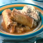 Apple Enchilada Dessert - Apples rolled in flour tortillas. VERY delicious, easy and fast to make. Substitute apples with peaches or cherries if desired.