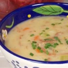 Healthier Delicious Ham and Potato Soup - With added carrots and green beans, and using non-fat milk, this healthier version of ham and potato soup turns out great every time.
