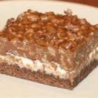 Deluxe Chocolate Marshmallow Bars - Bar cookie with  a thin cookie base, and a top layer made up of crisp rice cereal, peanut butter, and marshmallows.