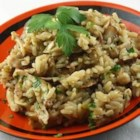 Fresh Mushroom Rice Pilaf  - Rice flavored with onion, mushrooms, and chicken bouillon is the perfect side dish to any meal.