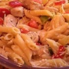Chicken Caesar Pasta - Flavorful Caesar style sauce with chunks of chicken breast and penne pasta.
