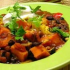 Sweet Potato and Black Bean Chili - This hearty vegetarian chili includes roasted sweet potatoes and black beans, along with spicy, flavorful seasonings such as chili powder, jalapenos, and cocoa powder.