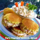 Party Vegetable Sandwich Spread - This spread of cream cheese, carrots, green bell pepper, onion, celery, and cucumber is given a little zing with lemon juice and mayonnaise. Spread on bread rounds to make little sandwiches. Great for brunches, wedding teas, baby showers or just to have on hand for the kids.