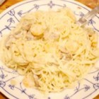 Shrimp Tetrazzini - A rich pasta dish full of shrimp and parmesan cheese.