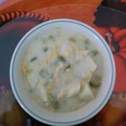 Lactose Free Corn Chowder - This is a completely vegan, lactose and cholesterol free soup made with non-dairy creamy, potatoes, celery, leeks, and whole kernel corn.  A good recipe for those with dietary restrictions.