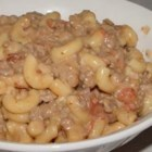 Shell-Roni - Seashell pasta is baked with a mixture of ground beef, bacon, onion, tomatoes, mushroom soup and cheese.