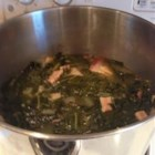 Big B's Collard Greens - These southern-style collard greens are simmered in a broth made from ham hocks and chicken broth seasoned with garlic and red pepper flakes.
