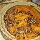 Orange-Ginger Sweet Potato Casserole - This classic sweet potato casserole delicately sweetened with orange juice, also uses fresh ginger, orange zest, and a pecan topping to add taste and textural appeal.