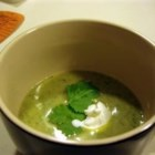 Avocado and Cilantro Soup - The richness of this tasty chilled soup is balanced by the sharp injection of lime hot pepper sauce. An optional dash of Tequila adds an extra Southwestern kick.
