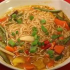 Ramen Noodle Soup - Ramen noodles simmered with vegetable broth, soy sauce, chili oil, ginger and sesame oil.
