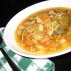 Old-Fashioned Vegetable Soup - Diced vegetables are simmered in beef broth flavored with soy sauce, Worcestershire and paprika.