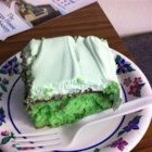 "Creme de Menthe Cake I - This quick recipe uses regular cake mix, any brand, and any type of whipped topping.   It is a great dessert for after dinner, or anytime and especially a treat for St. Patrick's Day (easy way to get something ""green"").  You can use creme de menthe flavoring if you don't have the actual liqueur."