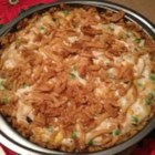 Turkey 'n Stuffing Bake - Cooked turkey baked with stuffing, fried onions, peas and a creamy soup mixture. Great dish for those turkey leftovers!