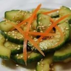 Shieldzini - Sheildzini is a Japanese cucumber salad.  It is very simple to put together, and very delicious.   Do not prepare too far in advance as cucumbers become soggy.  If the skins are tough or bitter, peel the cucumbers before preparing salad.