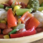 Mixed Vegetable Salad II - A sweet and sour dressing, with a bit of thickening, is cooked up and poured over red beans and veggies and then left to chill and mellow in the fridge. This is a great salad to serve with picnic food or to pile on a bed of greens for a hearty dinner salad.