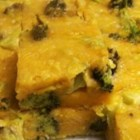 Broccoli Cheese Squares - Broccoli is baked into a cheesy egg mixture creating quiche-like squares perfect for a Thanksgiving appetizer or brunch menu item.