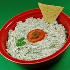 Cream Cheese Jalapeno Dip - Jalapeno pepper and cilantro give cream cheese a festive color in this spicy dip perfect for holiday parties. Serve with warm tortilla chips.