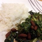 Nutty American Stir Fry - Start New Year's day off with a plate of collard greens cooked in sesame oil and served alongside fluffy white rice.