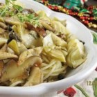 Shiitake Scallopine - Shiitakes lend a rich texture to this dish.  Angel hair pasta is tossed with shiitakes cooked with garlic, shallots, artichoke hearts, capers and white wine.